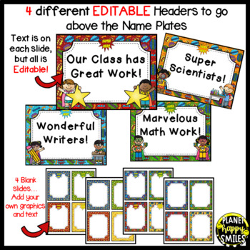 Name Plates for Student Work ~ Super Hero Theme (EDITABLE)