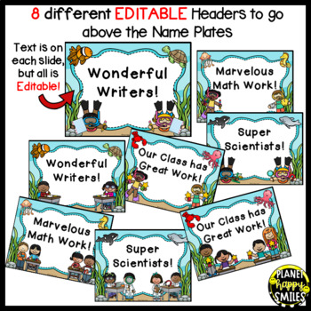 """Name Plates for Student Work ~ """"Under the Sea"""" Ocean Theme"""