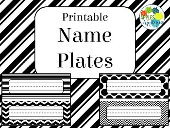 Name Plates in Black and White Theme