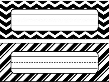 Name Plates in Black and White Theme - Editable