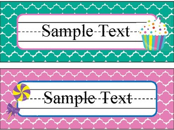 Name Plates in Candy Shop Theme