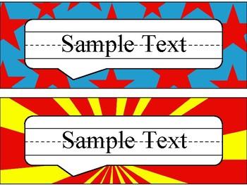 Name Plates in Comic Book Theme