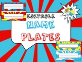 Editable Name Plates in Comic Book Theme