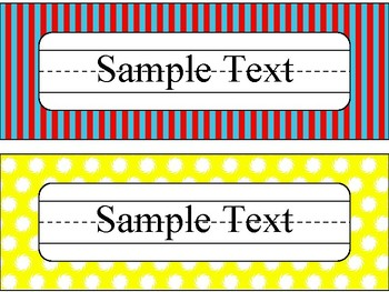 Name Plates in Primary Color Theme