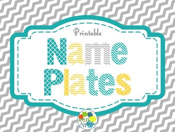 Name Plates in Yellow, Teal, and Gray