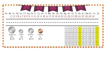 Name Plates- orange with purple bunting
