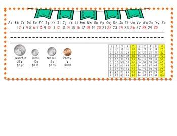 Name Plates- orange with turquoise bunting