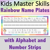 Name Plates with Alphabet and Number Strips - Rainbow
