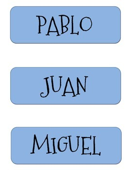 Classroom Desk Name Plates with Spanish Male Names