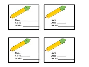 Name Plates with Pencil Theme
