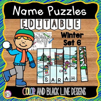 Name Practice Activity Puzzles for Winter EDITABLE