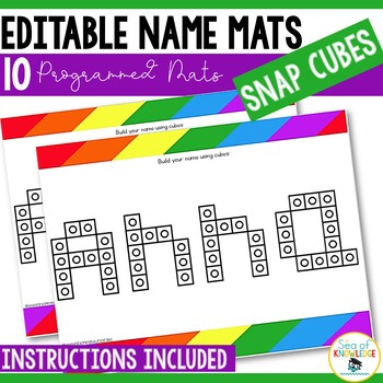 Name Practice Connecting Cubes Mats - Editable