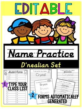 EDITABLE Name Practice D'nealian BUNDLE