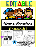 EDITABLE Name Practice D'nealian BUNDLE