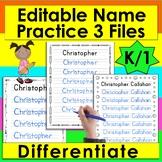 Name Practice Handwriting - Editable - Type Names, Print &