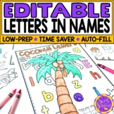 Editable Name Practice Coloring Pages | Recognizing letter