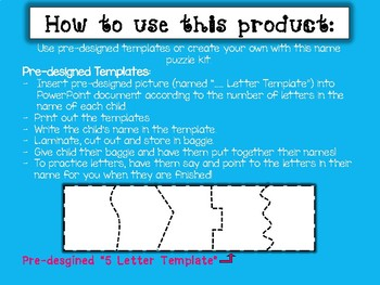 Name Practice - Preschool Name Puzzles