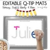 Name Practice Activities Qtip Painting Mats EDITABLE