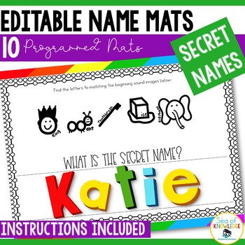 Name Practice Secret Names - Editable