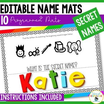 Name Practice Secret Names - Editable