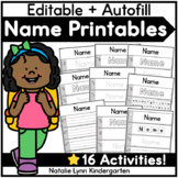 Name Practice Worksheets | 16 EDITABLE Name Tracing and Writing Activities