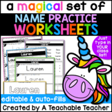Editable Name Practice Worksheets