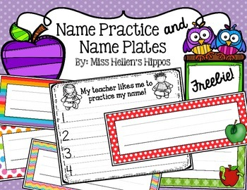 Name Practice and Name Plate FREEBIE!