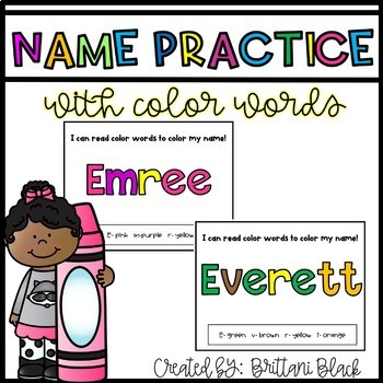 Name Practice with Color Words~ EDITABLE