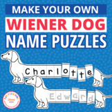 Name Puzzles Editable | Dog Theme Name Activities | Wiener Dog Name Practice