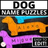 Dog Theme Name Practice | Editable Name Puzzles | Name Act