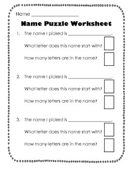 Name Puzzles Worksheet