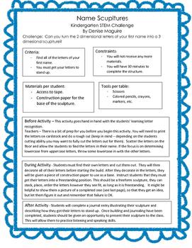 STEM - Kindergarten: Name Sculpture Challenge