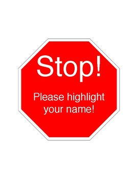 Stop Sign Name Reminder - no more no name papers **FREEBIE**