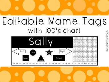 Name Tag / Desk Plate with 100s chart (editable)