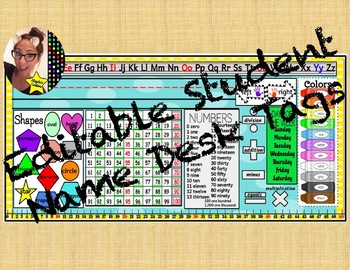 Desk Name Tag (12 different learning aids on ea. name tag)- Type & Print!