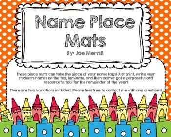 Name Tag Place Mats