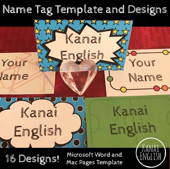 Name Tag Template and Designs - 16 designs/colors