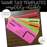 Name Tag Templates {Editable}