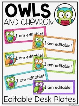 Editable Desk Plates {Owls and Chevron Classroom Decor Theme}