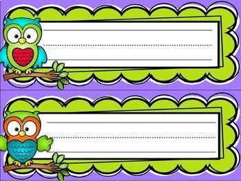 Name Tags Desk Plates Owl-theme