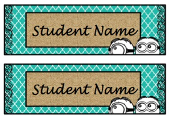 Name Tags:  Black, Teal, and Burlap