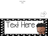 Name Tags Black and White Polka Dots with Sticker Collection