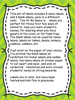 Name Tags / Blank Labels - Owls and Chevron Theme - Classroom Decor