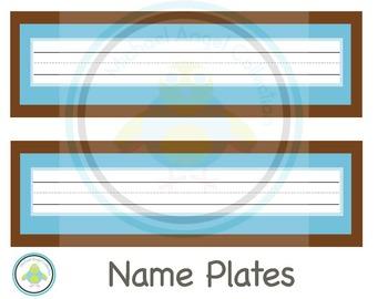 Name Plates Blue Brown Theme
