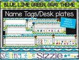 Editable Name Tags-Blue Green Gray Themed