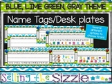 Editable Name Tags-Blue Green Gray Themed