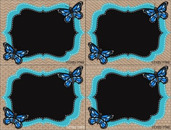Name Tags (Butterfly, Blue, Black & Burlap Theme)