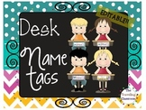Chalkboard Chevron Polka Dot Editable Name Tag Set