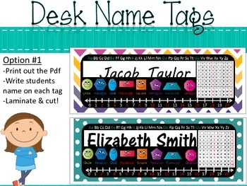 Chalkboard Chevron Polka Dot Editable Name Tag Set