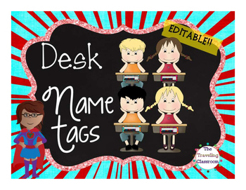 Name Tags {Chalkboard Super Hero Theme} EDITABLE